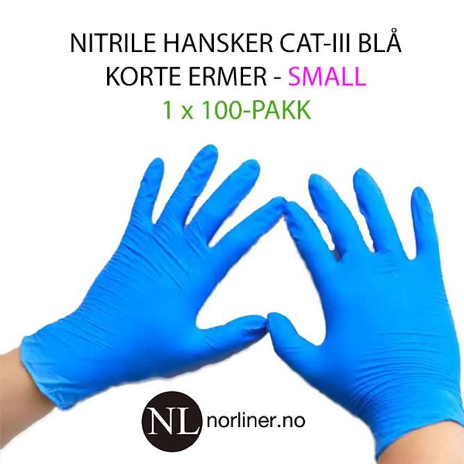 Bilde av LM-HANSKE NITRIL Kort Blå - Small - 100 Pakk
